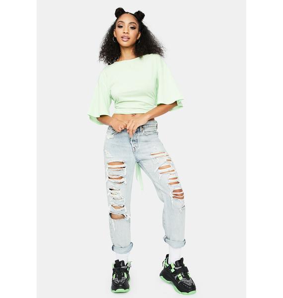 Lime Keep It Together Tie Crop Top