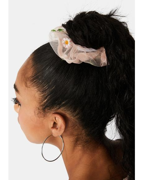 Summer Hair Sheer Daisy Scrunchie