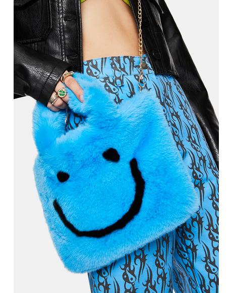 Smiley Face Faux Fur Bag