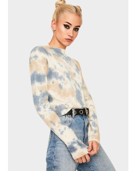 Tie Dye Textured Cropped Sweater