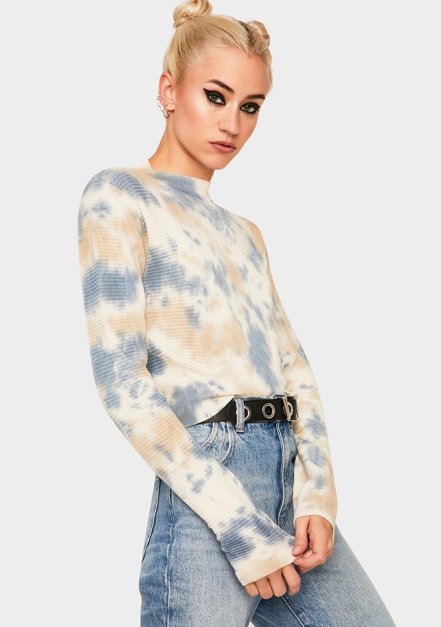 BDG Tie Dye Textured Cropped Sweater