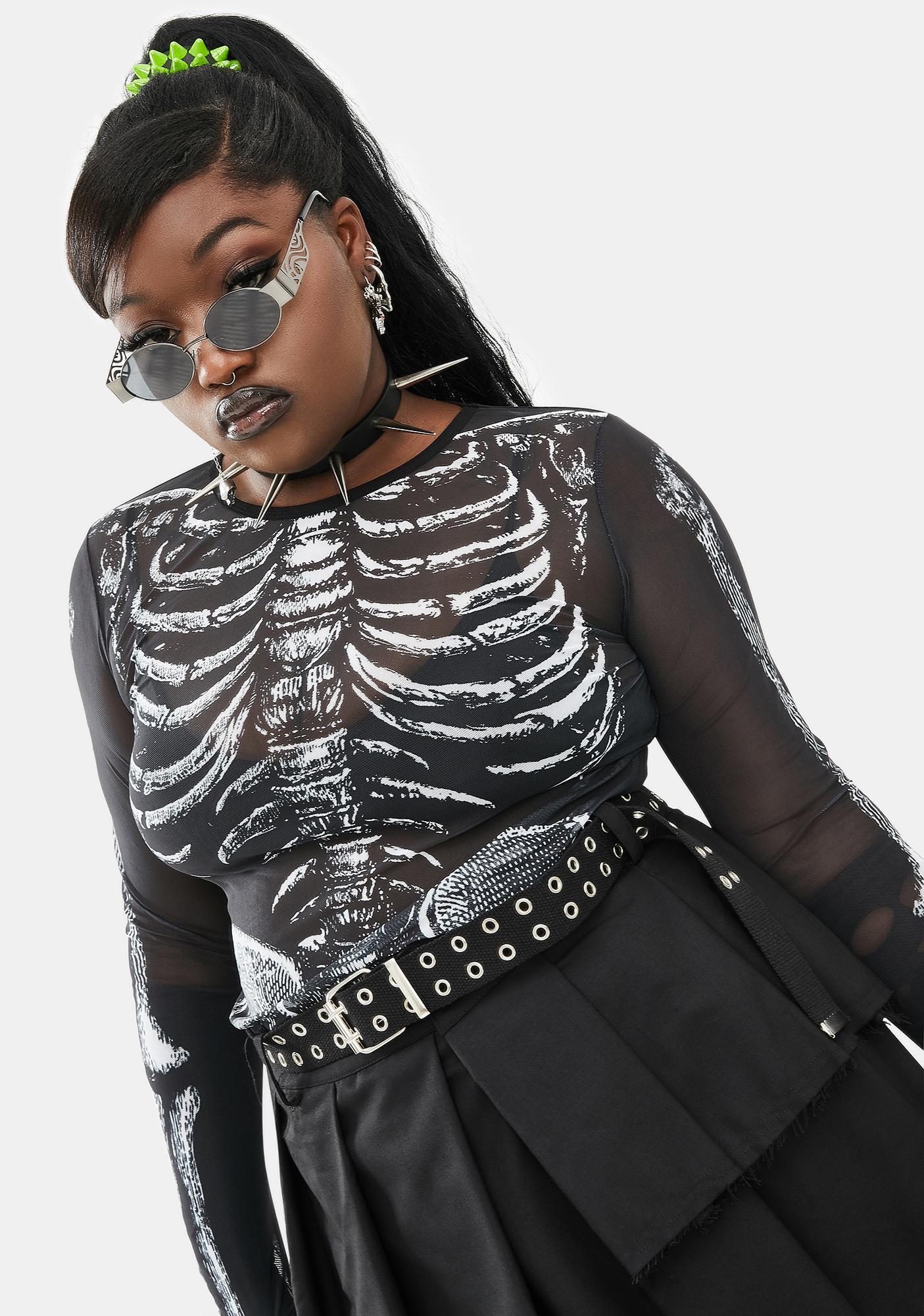 Dolls Kill Wicked Boneyard Mesh Top