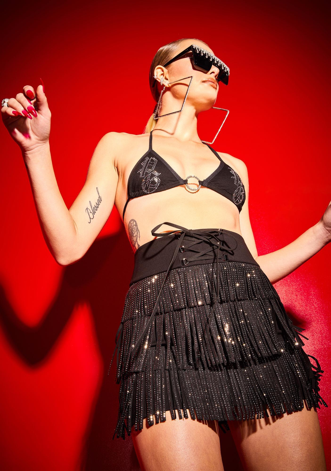 Poster Grl Fringe Benefits Rhinestone Mini Skirt