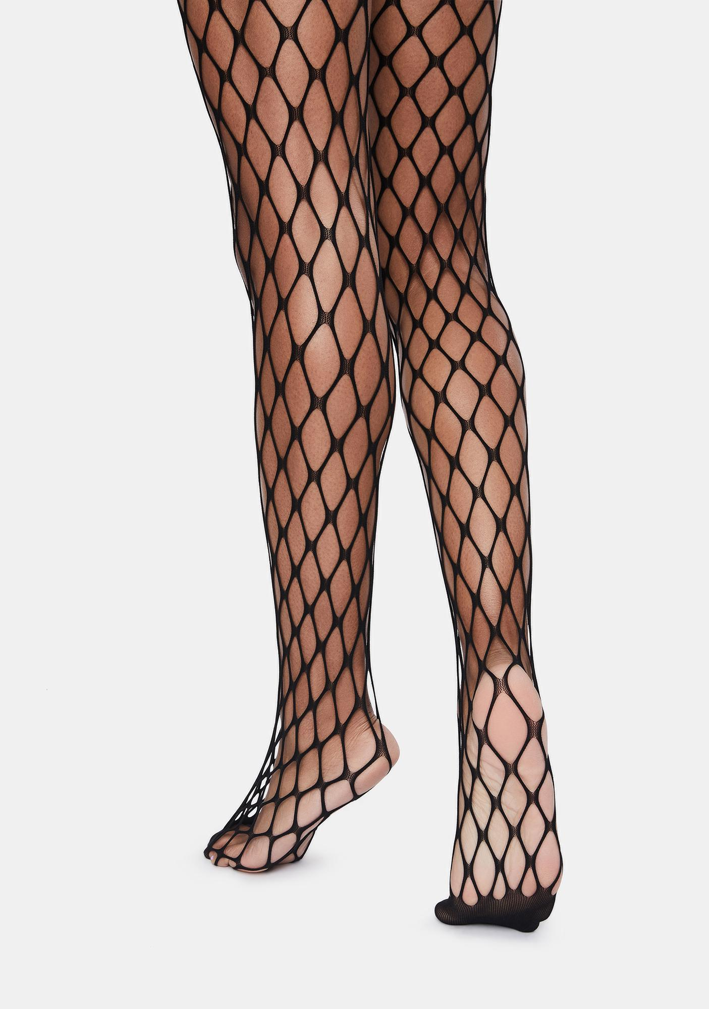 MeMoi Black Flirty Maxi Net Tights
