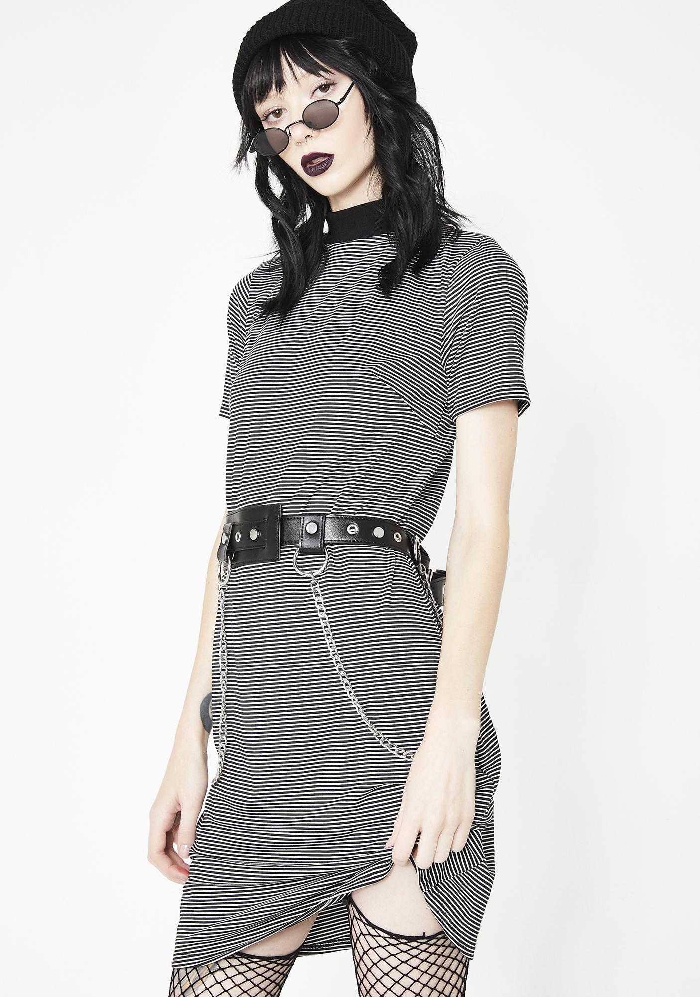 Disturbia Striped Rib Neck Dress