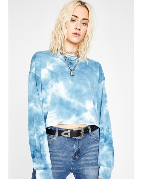 Blue Hazy Skies Tie Dye Crop Top