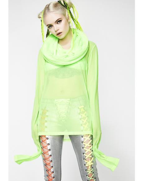 Green Mesh Cage Tunic