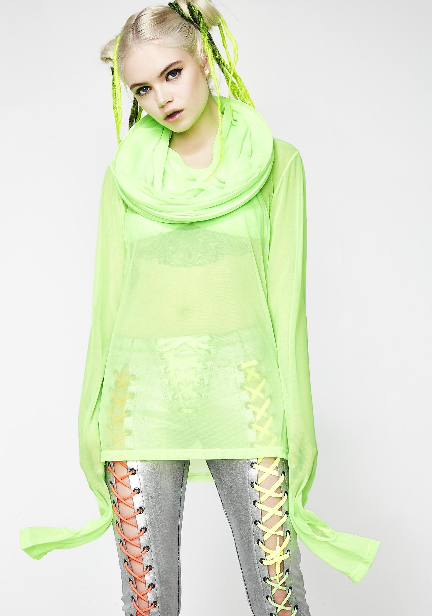 Cyberdog Green Mesh Cage Tunic
