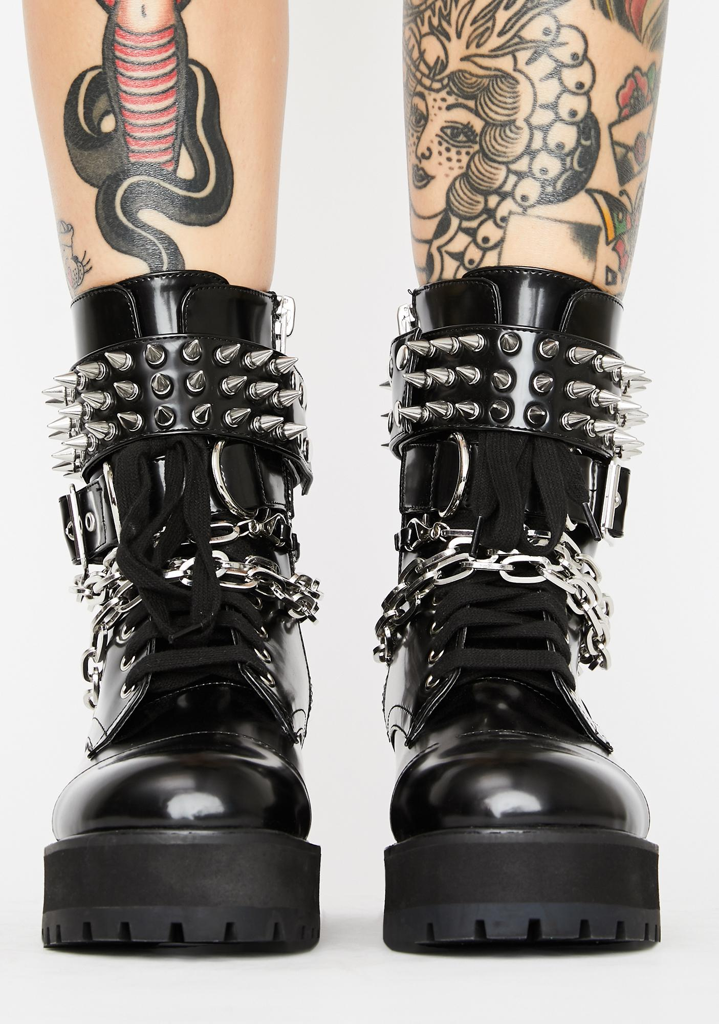 Current Mood Hardcore Commandments Spiked Boots