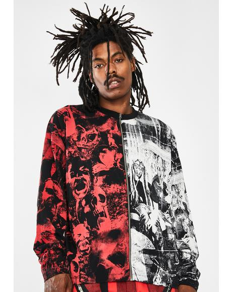 Spliced Zip-Up Punk Print Long Sleeve Tee