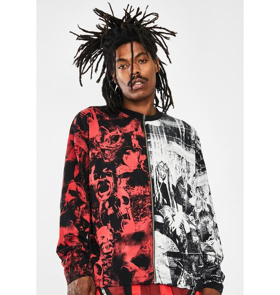Jaded London Spliced Zip-Up Punk Print Long Sleeve Tee