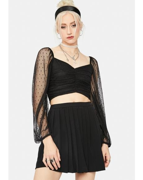 Dark It's My Delight Ruched Crop Top