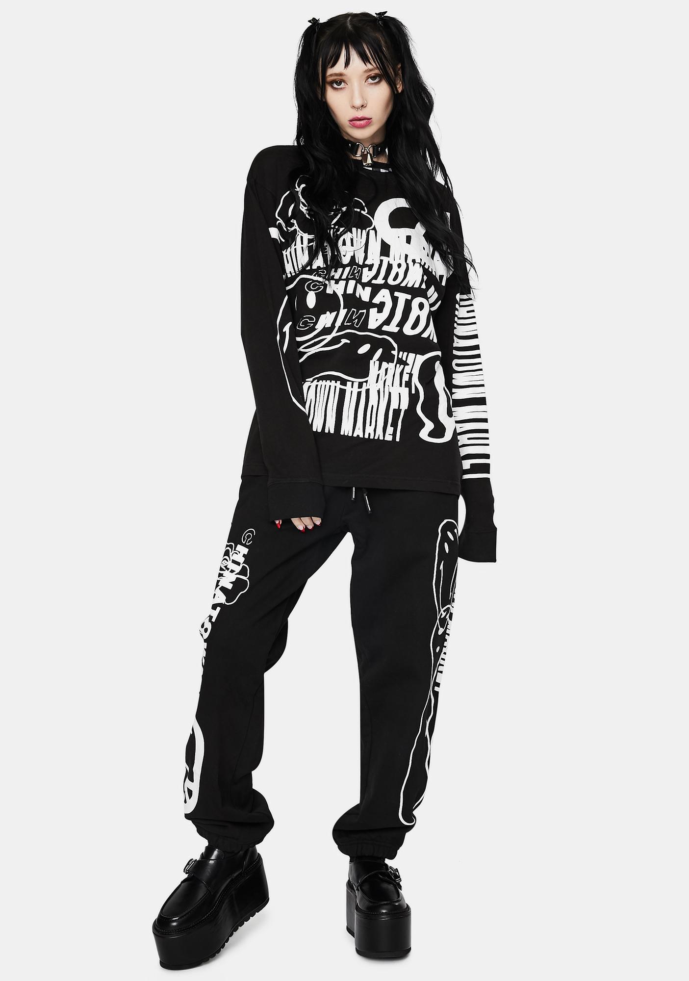 CHINATOWN MARKET Black Warp Graphic Sweatpants