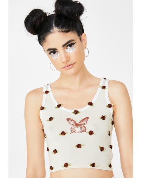 Mocha Butterfly Flowerbud Tank Top