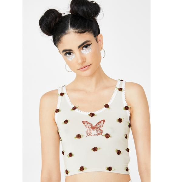 O Mighty Mocha Butterfly Flowerbud Tank Top