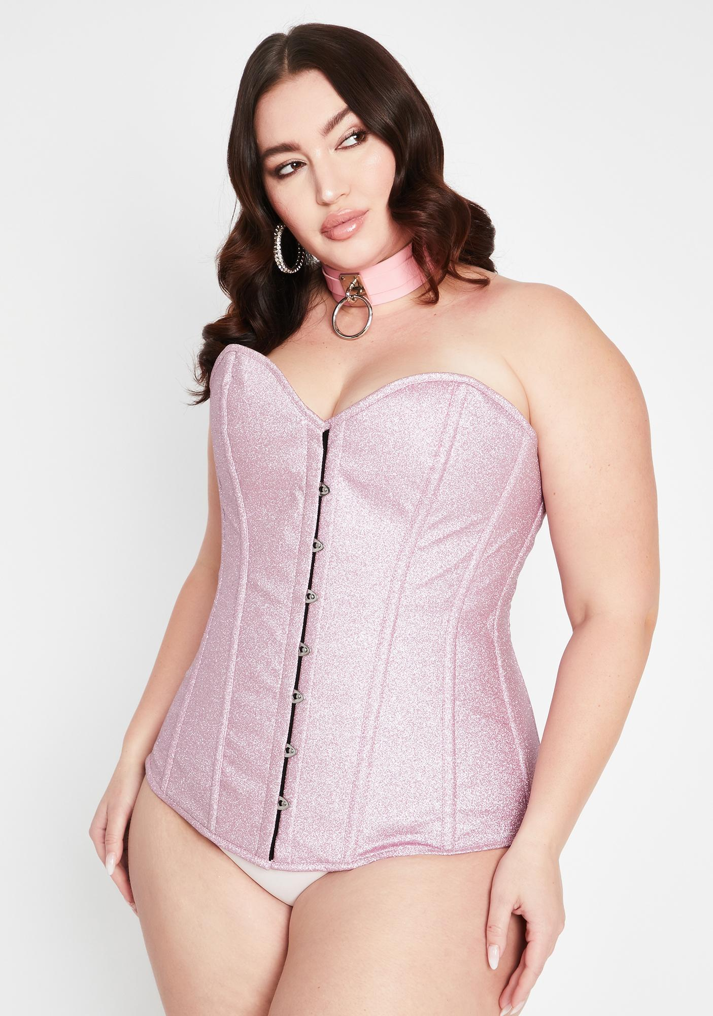 Daisy Corsets Plus Posh Pink Glitter Overbust Corset