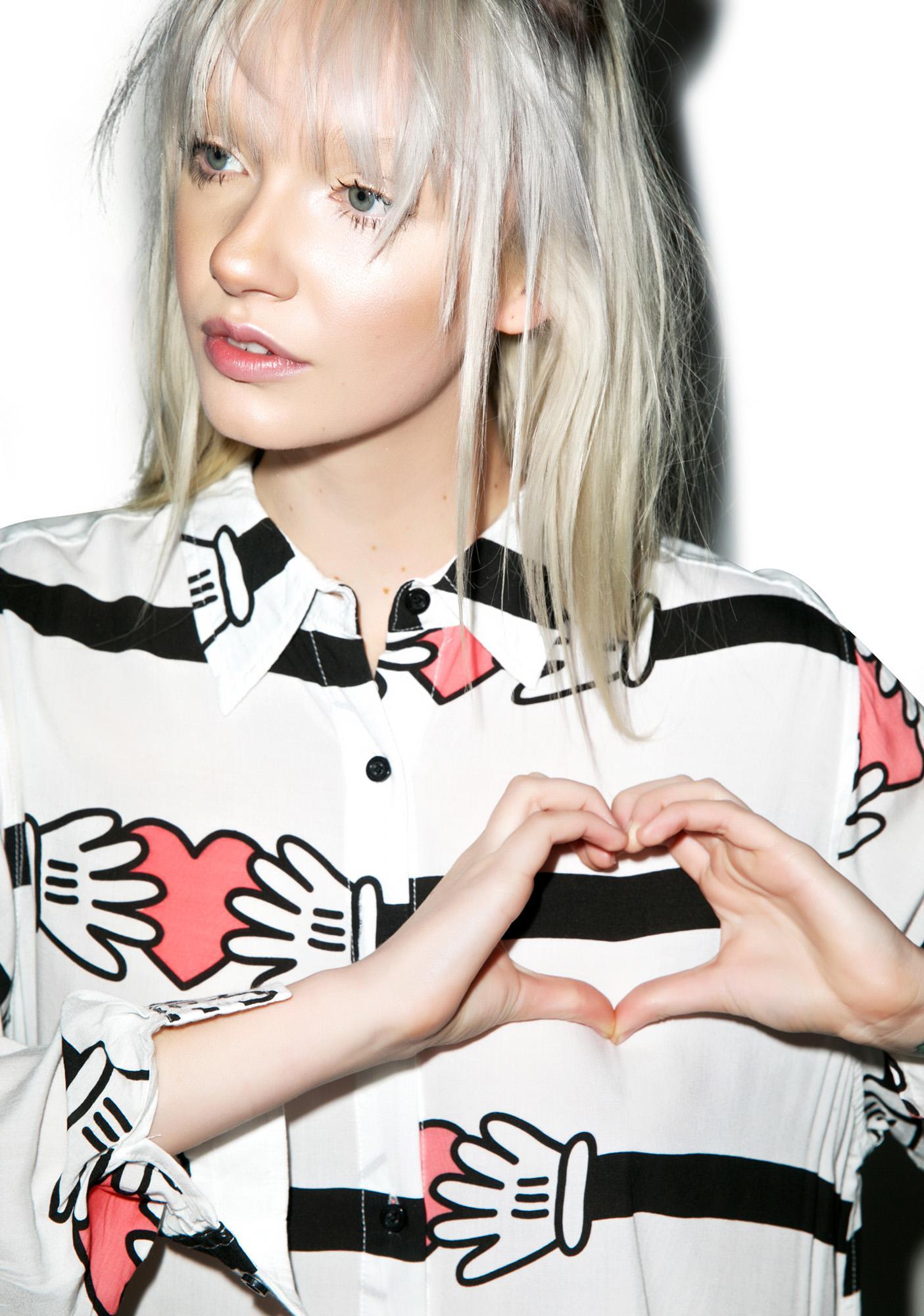 Lazy Oaf Hands On Heart Stripe Shirt