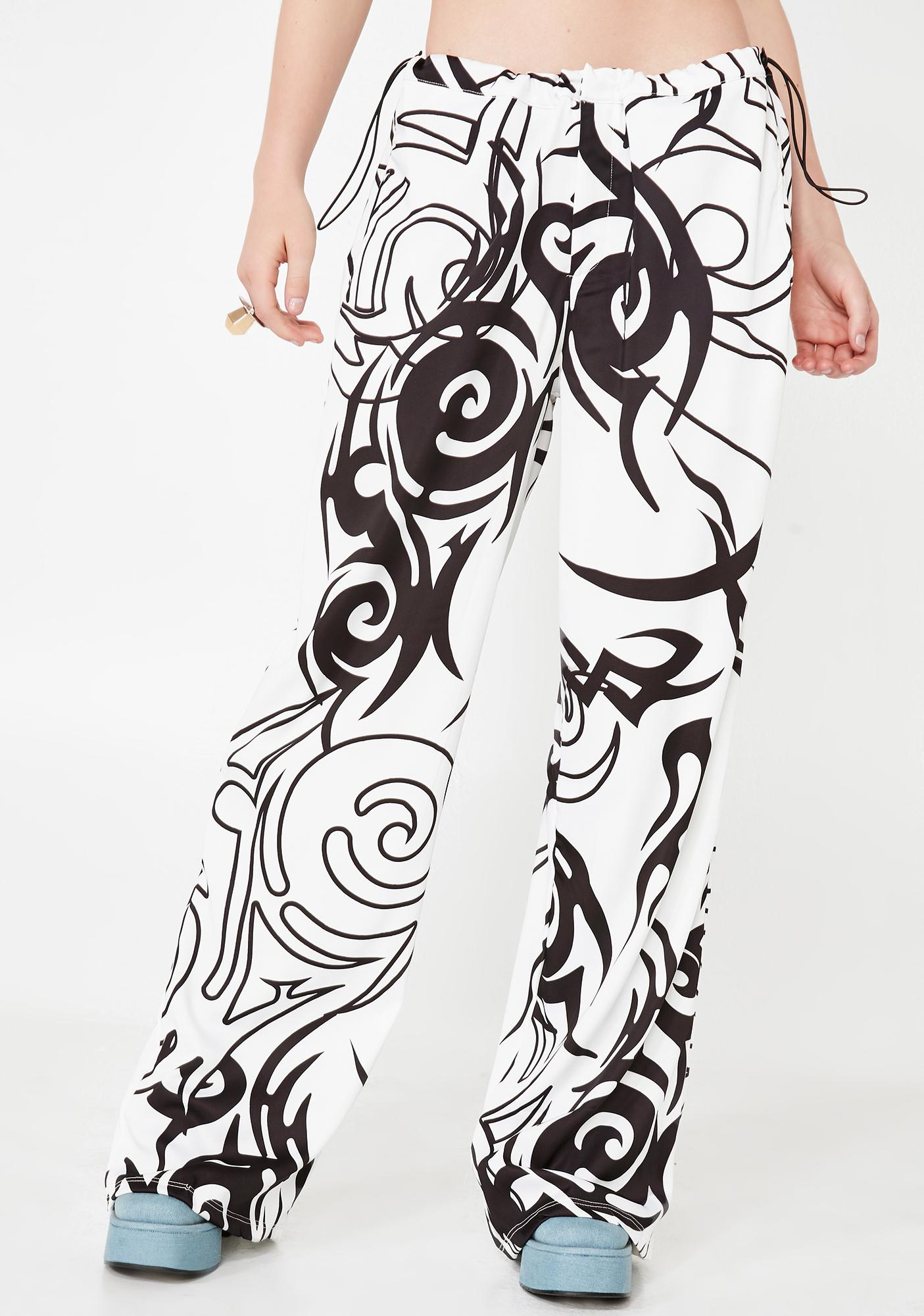 Jaded London Tribal Print Wide Leg Pants