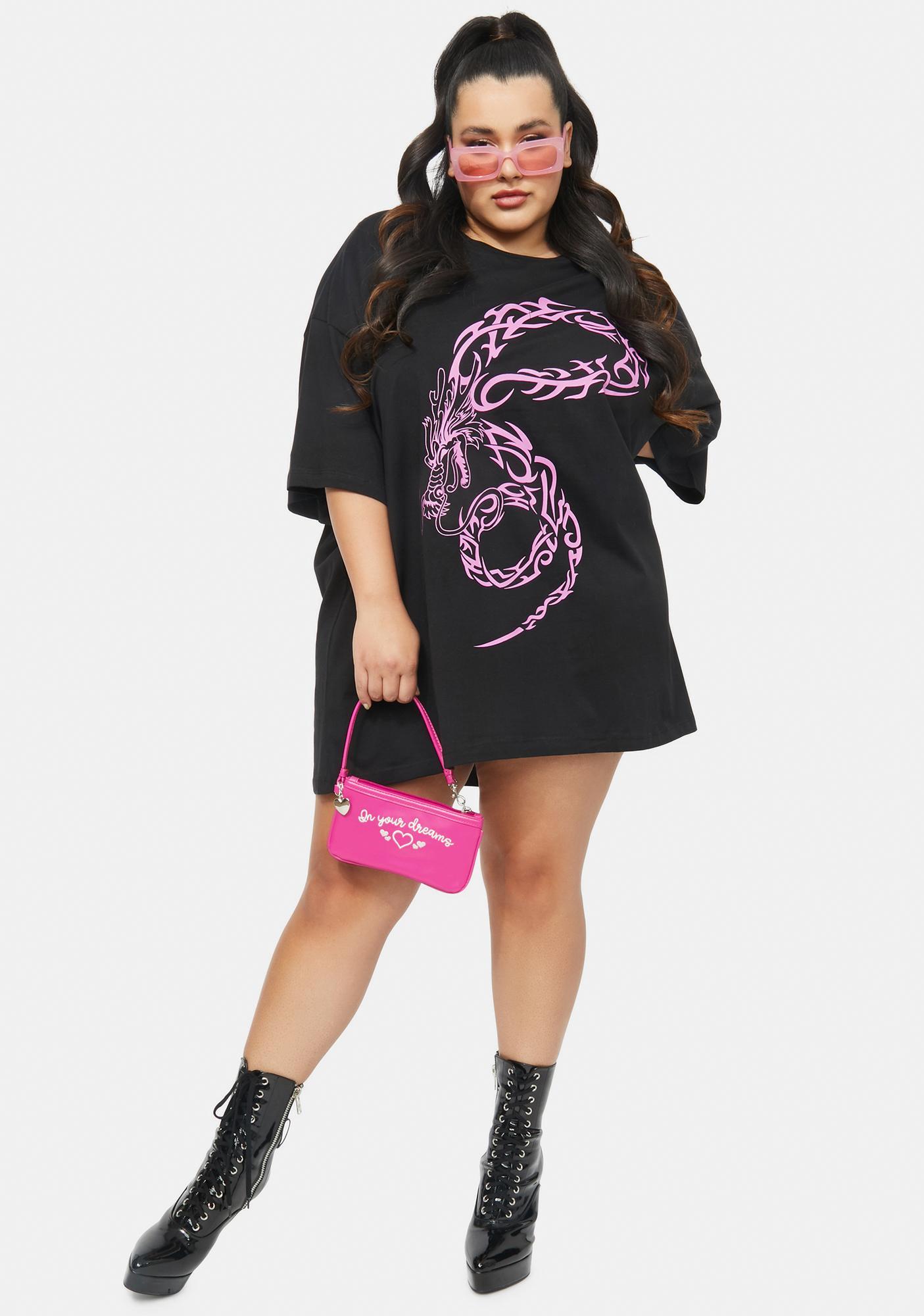 NEW GIRL ORDER Curve Dragon Tattoo T-Shirt Dress