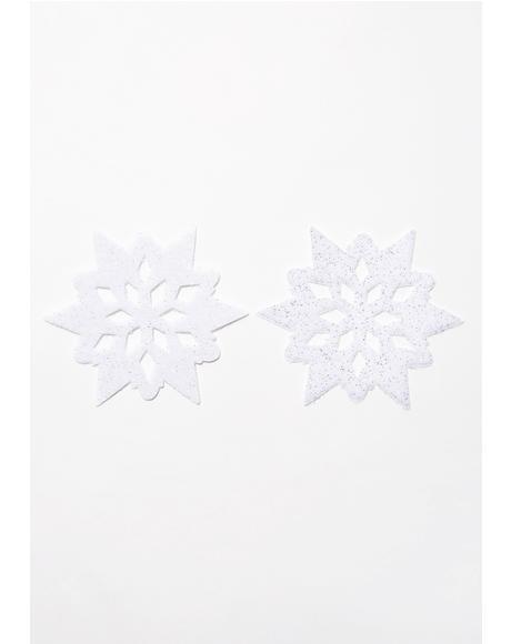 White Velvet Snowflake Pasties