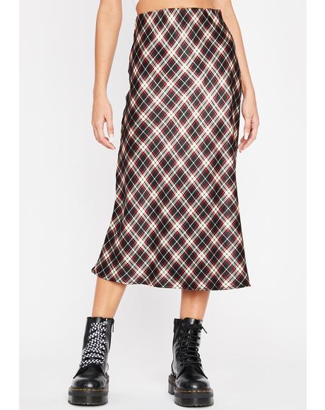 Plaid Luxury Level Satin Skirt