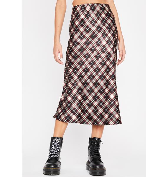 Plaid Luxury Level Satin Skirt