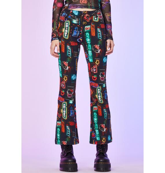 Dolls Kill x Hello Kitty Pixel City Flare Pants