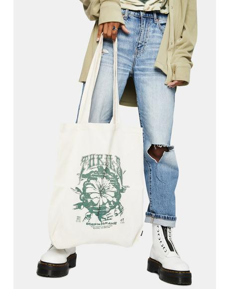 Unbleached Psychflower Tote Bag