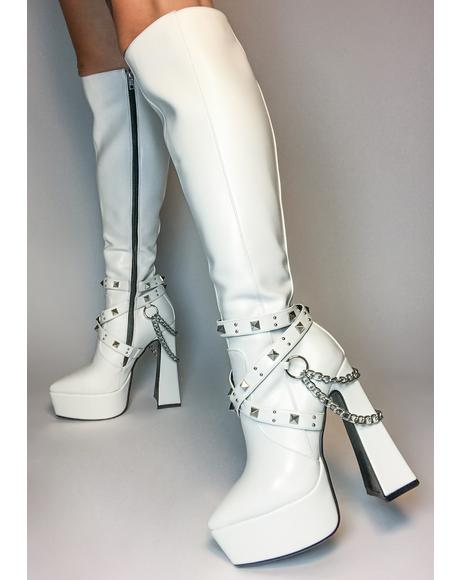 White Distractions Knee High Boots