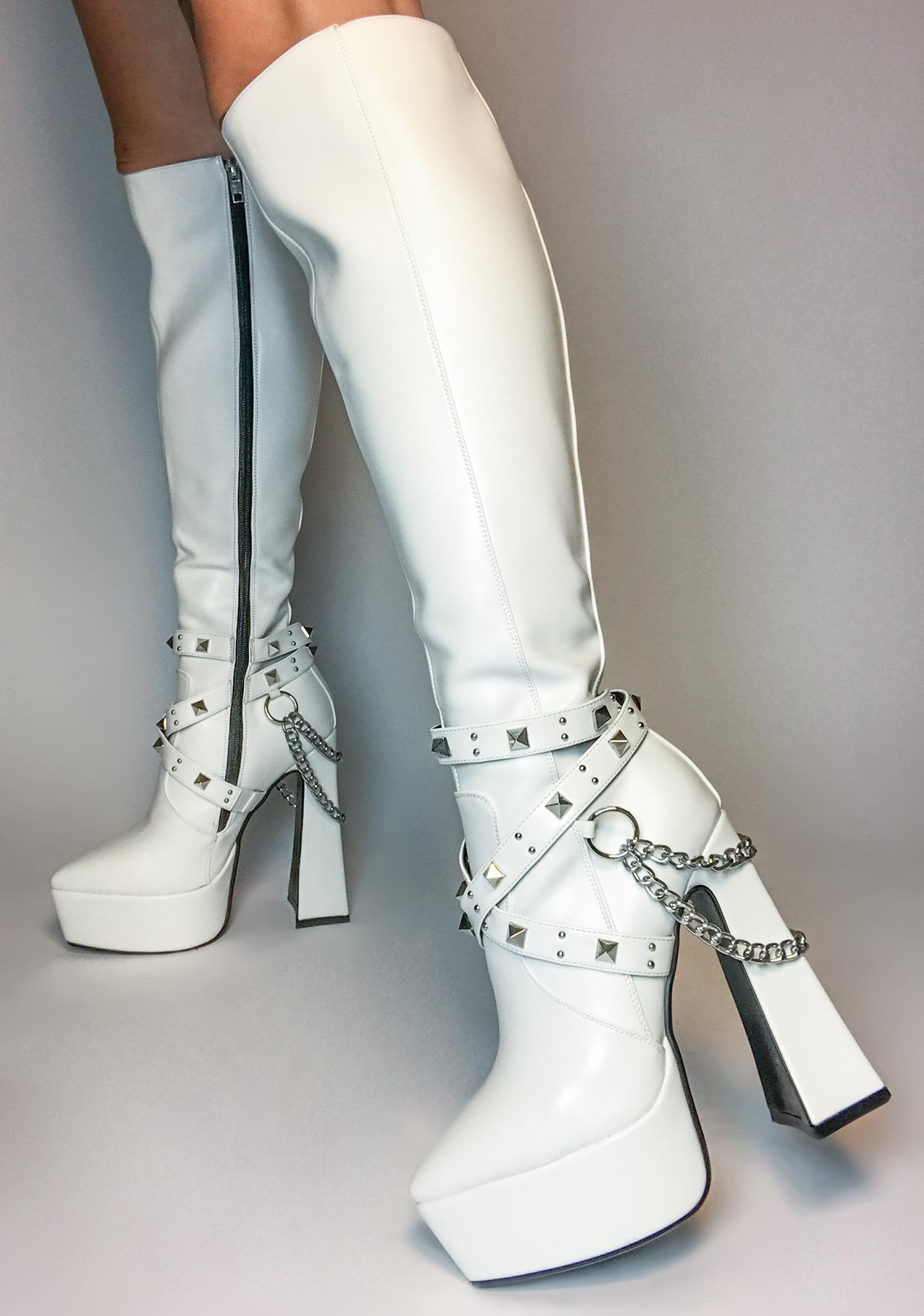 Lamoda White Distractions Knee High Boots