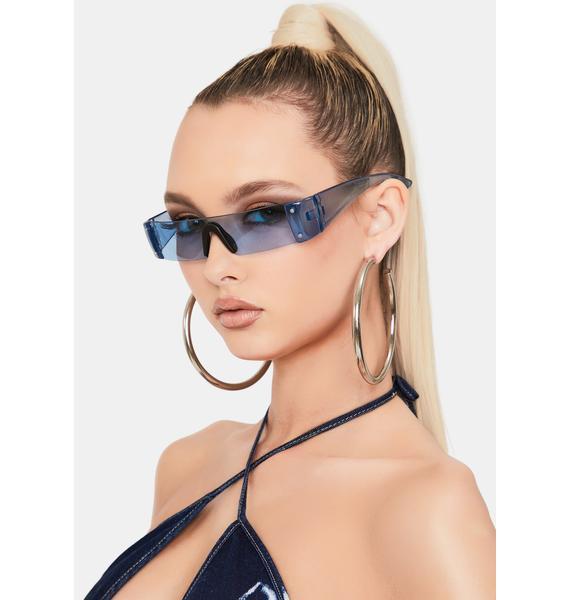 Good Times Eyewear Blue Slim Shield Sunglasses