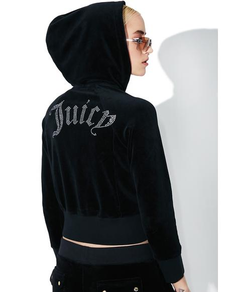 Cropped Velour Gothic Logo Jacket
