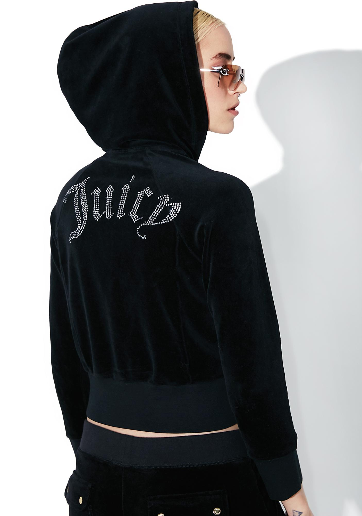e6b6903b2b6c JUICY COUTURE Cropped Velour Gothic Logo Jacket