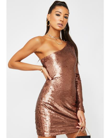 Copper Sequin One-Shoulder Dress