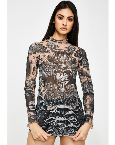 Tattoo Print Mesh Top