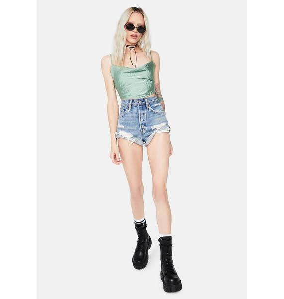 Care Of You Satin Cowl Neck Crop Top