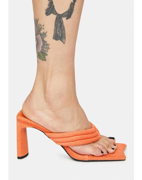 Orange Resort Thong Heeled Mules