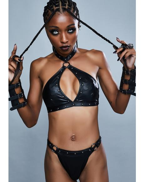 Vengeance Is Mine Vegan Leather Lingerie Set