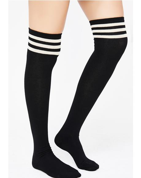 Onyx Got Game Thigh High Socks