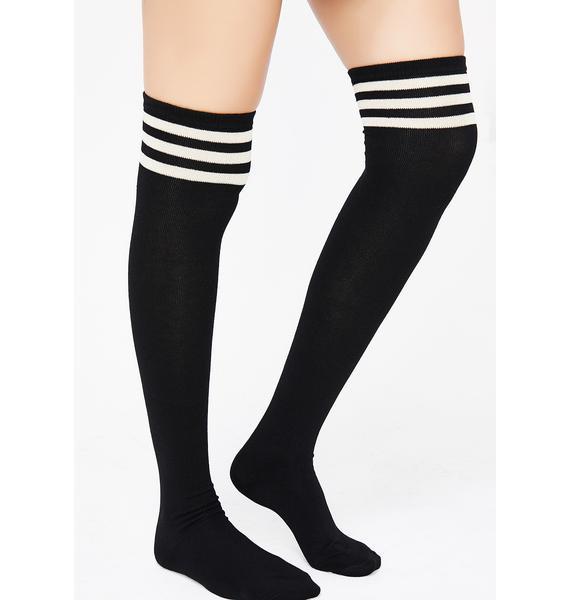 Onyx Got Game Thigh High Socks