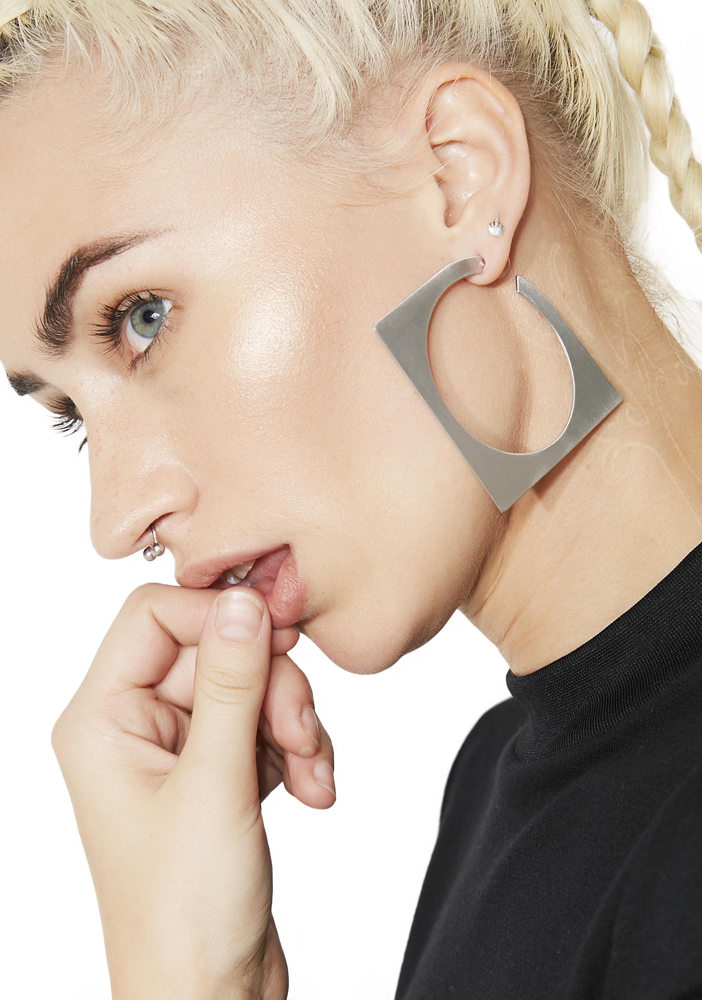 Silver Square Hoop Earrings
