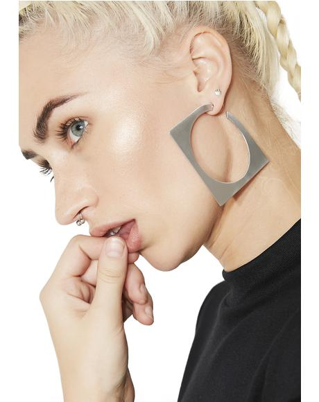 Abstract Square Hoop Earrings