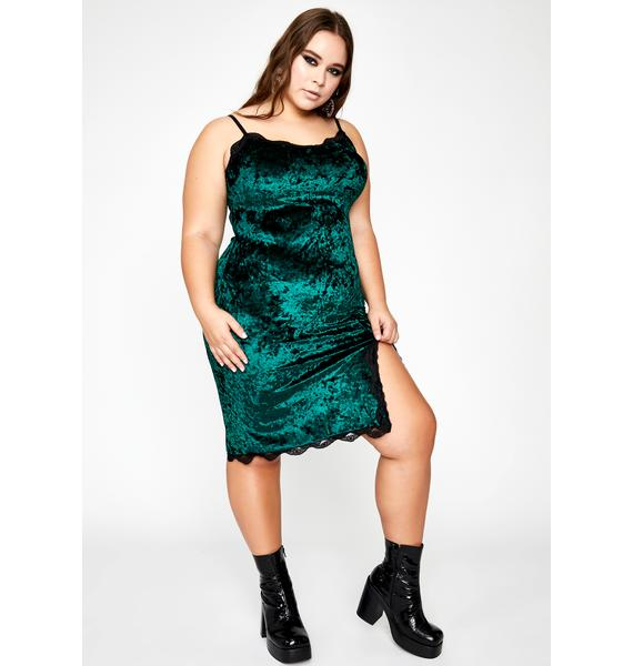 Emerald BB Read Into Me Velvet Dress