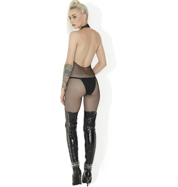 Obsessed Much Fishnet Halter Bodystocking
