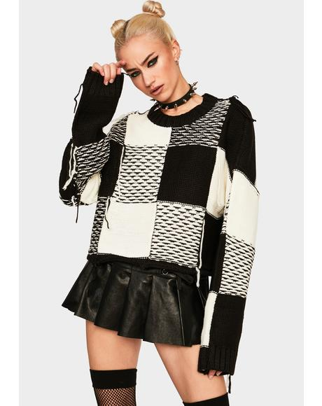 Black And White Cropped Knit Sweater
