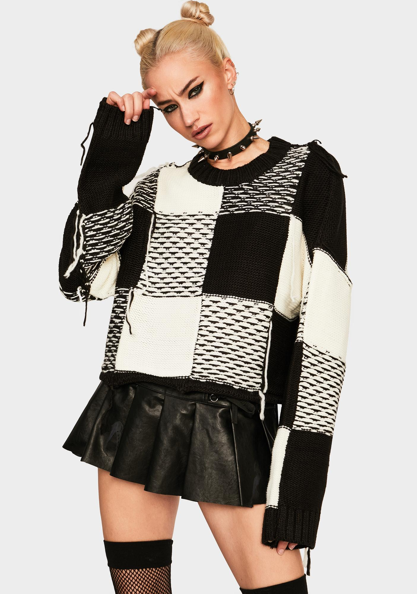 The Ragged Priest Black And White Cropped Knit Sweater