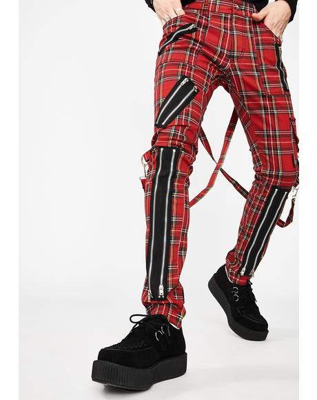 Classic Slim Leg Plaid Bondage Pants