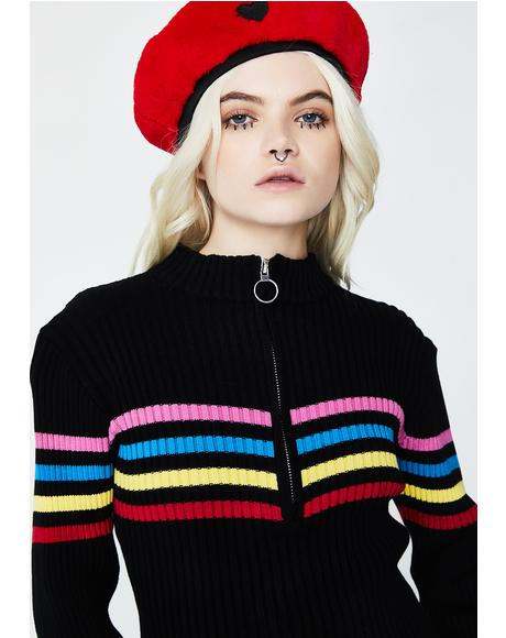 Zip Through Rainbow Knit
