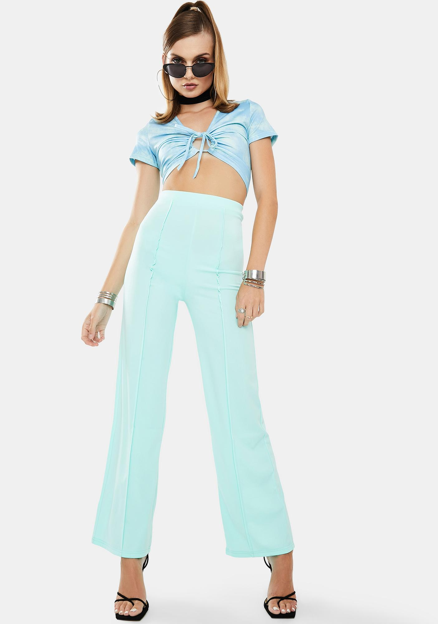 ZEMETA Mint Way Flare Pants