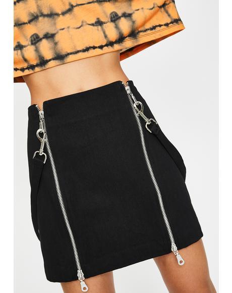 Tears Zipper Mini Skirt